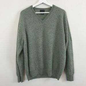 Jos. A. Bank Green V-Neck Cashmere Sweater XL